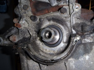 Crank pulley bolt removed